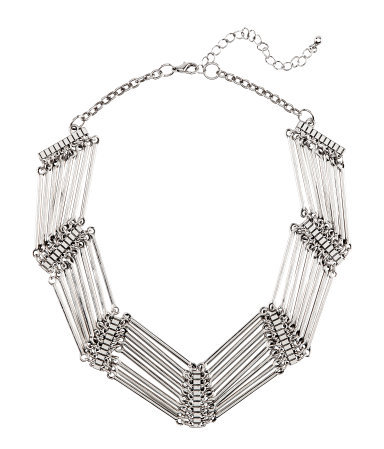 Necklace - predominant colour: silver; occasions: evening, work, occasion, holiday; length: short; size: large/oversized; material: chain/metal; finish: metallic; embellishment: chain/metal; style: bib/statement; season: s/s 2013