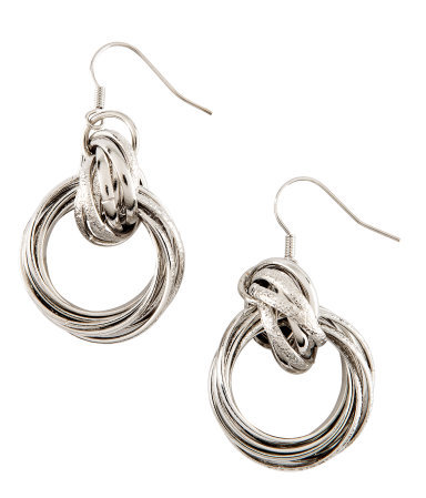 Earrings - predominant colour: silver; occasions: casual, evening, work, occasion, holiday; style: hoop; length: mid; size: standard; material: chain/metal; fastening: pierced; trends: metallics; finish: metallic; embellishment: chain/metal; season: s/s 2013