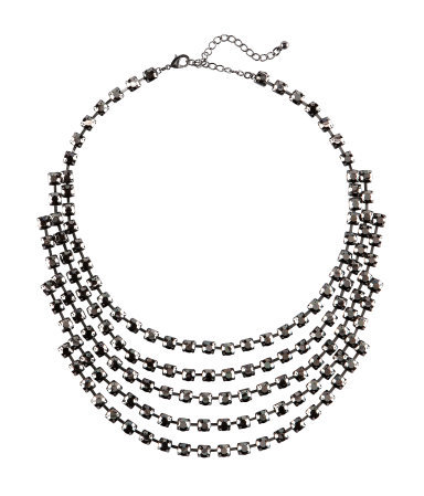 Necklace - predominant colour: silver; occasions: evening, occasion; length: short; size: large/oversized; material: chain/metal; finish: metallic; embellishment: crystals/glass; style: bib/statement; season: s/s 2013