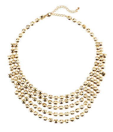 Necklace - predominant colour: gold; occasions: evening, occasion; length: mid; size: large/oversized; material: chain/metal; finish: metallic; embellishment: crystals/glass; style: bib/statement; season: s/s 2013