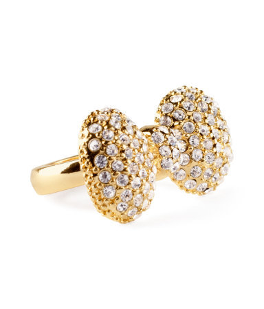 Ring - predominant colour: gold; occasions: evening, occasion; style: cocktail; size: large/oversized; material: chain/metal; trends: metallics; finish: metallic; embellishment: crystals/glass; season: s/s 2013