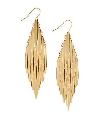 Earrings - predominant colour: gold; occasions: evening, work, occasion, holiday; style: drop; length: long; size: large/oversized; material: chain/metal; fastening: pierced; trends: metallics; finish: plain; embellishment: chain/metal; season: s/s 2013