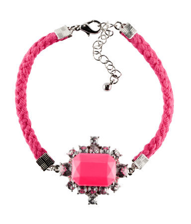 Bracelet - predominant colour: hot pink; occasions: casual, evening, occasion, holiday; style: friendship/tie; size: small/fine; material: fabric/cotton; finish: plain; embellishment: jewels/stone; season: s/s 2013