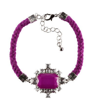 Bracelet - predominant colour: purple; occasions: casual, evening, work, occasion, holiday; style: friendship/tie; size: standard; material: fabric/cotton; finish: plain; embellishment: jewels/stone; season: s/s 2013