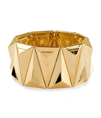 Bracelet - predominant colour: gold; occasions: evening, work, occasion, holiday; size: large/oversized; material: chain/metal; finish: metallic; embellishment: chain/metal; season: s/s 2013; style: expander