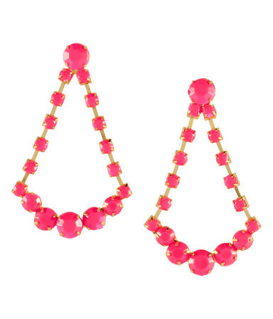 Earrings - predominant colour: hot pink; occasions: evening, occasion, holiday; style: drop; length: mid; size: large/oversized; material: chain/metal; fastening: pierced; trends: fluorescent; finish: plain; embellishment: beading; season: s/s 2013
