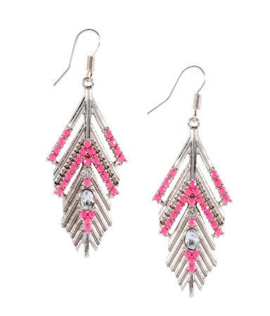 Earrings - predominant colour: silver; occasions: evening, occasion, holiday; style: drop; length: long; size: large/oversized; material: chain/metal; fastening: pierced; finish: plain; embellishment: beading; season: s/s 2013