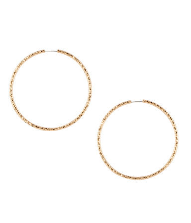 Earrings - predominant colour: gold; occasions: casual, evening, work, occasion; style: hoop; length: mid; size: standard; material: chain/metal; fastening: pierced; finish: metallic; embellishment: chain/metal; season: s/s 2013