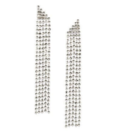 Earrings - predominant colour: silver; occasions: evening, occasion; style: drop; length: long; size: large/oversized; material: chain/metal; fastening: pierced; trends: metallics; finish: metallic; embellishment: crystals/glass; season: s/s 2013
