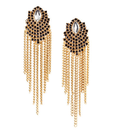 Earrings - predominant colour: gold; occasions: evening, occasion; style: chandelier; length: long; size: large/oversized; material: chain/metal; fastening: pierced; finish: metallic; embellishment: crystals/glass; season: s/s 2013
