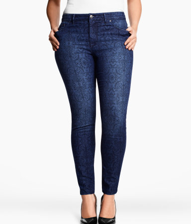 + Jeans - style: skinny leg; length: standard; pocket detail: traditional 5 pocket; waist: mid/regular rise; predominant colour: navy; occasions: casual; fibres: cotton - stretch; texture group: denim; pattern type: fabric; pattern: patterned/print; season: s/s 2013; pattern size: standard (bottom)