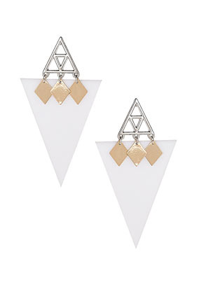Triangle Shard Stud Earrings - predominant colour: white; occasions: evening, work, occasion, holiday; style: drop; length: long; size: standard; material: plastic/rubber; fastening: pierced; trends: modern geometrics; finish: plain; embellishment: chain/metal; season: s/s 2013
