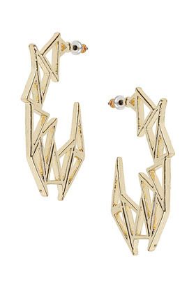 Multi Triangle Hoop Earrings - predominant colour: gold; occasions: casual, evening, occasion; style: hoop; length: mid; size: large/oversized; material: chain/metal; fastening: pierced; trends: metallics; finish: metallic; embellishment: chain/metal; season: s/s 2013