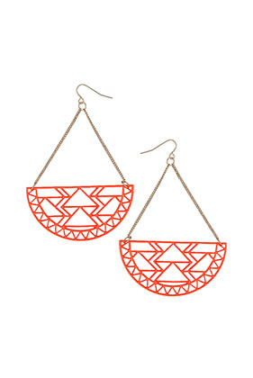 Aztec Cut Out Earrings - predominant colour: true red; occasions: casual, evening, occasion; style: drop; length: long; size: large/oversized; material: chain/metal; fastening: pierced; trends: fluorescent, modern geometrics; finish: fluorescent; embellishment: chain/metal; season: s/s 2013