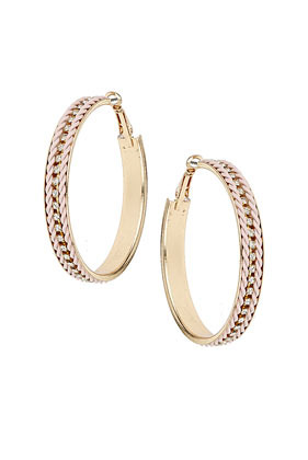 Coloured Chain Hoop Earrings - predominant colour: gold; occasions: casual, evening, work, occasion; style: hoop; length: mid; size: standard; material: chain/metal; fastening: pierced; trends: metallics; finish: metallic; embellishment: chain/metal; season: s/s 2013