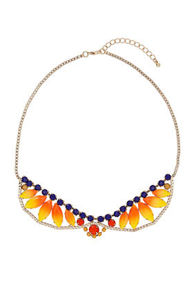 Sunset Stone Collar - predominant colour: bright orange; occasions: evening, work, occasion, holiday; length: short; size: large/oversized; material: chain/metal; finish: fluorescent; embellishment: jewels/stone; style: bib/statement; season: s/s 2013