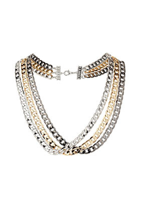 Three Row Flat Chain Collar - predominant colour: silver; occasions: evening, work, occasion; style: multistrand; length: mid; size: large/oversized; material: chain/metal; finish: metallic; embellishment: chain/metal; season: s/s 2013