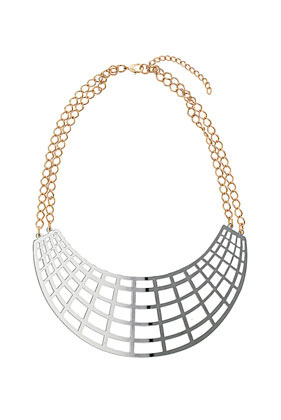 Grid Necklace - predominant colour: silver; occasions: evening, work, occasion, holiday; length: mid; size: large/oversized; material: chain/metal; finish: metallic; embellishment: chain/metal; style: bib/statement; season: s/s 2013