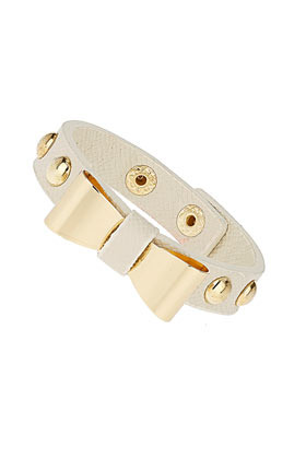 Bow Stud Cuff - predominant colour: white; occasions: casual, evening, work, occasion, holiday; style: cuff; size: small/fine; material: fabric/cotton; trends: metallics; finish: metallic; embellishment: bow; season: s/s 2013