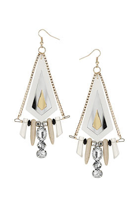 Acrylic And Shard Earrings - predominant colour: white; occasions: evening, work, occasion, holiday; style: drop; length: long; size: large/oversized; material: chain/metal; fastening: pierced; trends: metallics; finish: metallic; embellishment: crystals/glass; season: s/s 2013