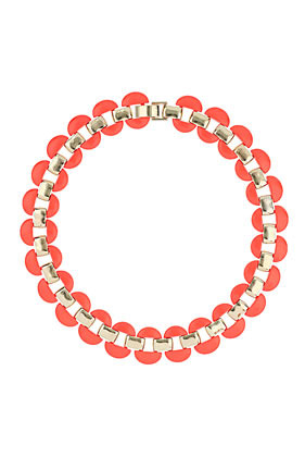 Half Disc Collar - predominant colour: coral; occasions: evening, work, occasion, holiday; length: short; size: large/oversized; material: chain/metal; finish: fluorescent; embellishment: jewels/stone; style: bib/statement; season: s/s 2013