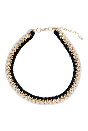 Thread Wrapped Chain Necklace - predominant colour: white; occasions: evening, work, occasion, holiday; length: short; size: large/oversized; material: chain/metal; finish: metallic; embellishment: chain/metal; style: bib/statement; season: s/s 2013