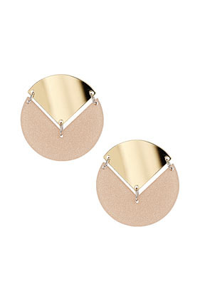 Overlay Triangle Disc Earrings - predominant colour: gold; occasions: casual, evening, work, occasion; style: stud; length: short; size: standard; material: chain/metal; fastening: pierced; trends: metallics; finish: metallic; embellishment: chain/metal; season: s/s 2013