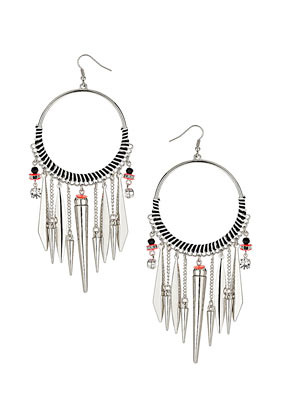 Mono Thread Drop Earrings - predominant colour: silver; occasions: casual, evening, work, holiday; style: drop; length: long; size: large/oversized; material: chain/metal; fastening: pierced; trends: metallics; finish: fluorescent; embellishment: chain/metal; season: s/s 2013