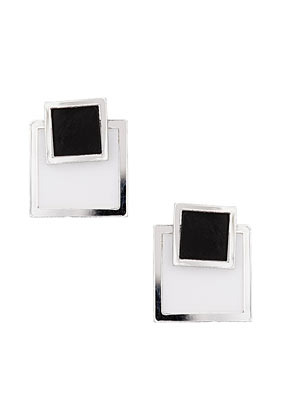Double Square Stud Earrings - predominant colour: black; occasions: casual, evening, work, occasion, holiday; style: stud; length: short; size: standard; material: chain/metal; fastening: pierced; trends: modern geometrics; finish: plain; embellishment: chain/metal; season: s/s 2013