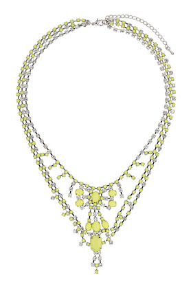 Bling Rhinestone Collar - predominant colour: yellow; occasions: evening, occasion, holiday; length: mid; size: large/oversized; material: chain/metal; finish: fluorescent; embellishment: jewels/stone; style: bib/statement; season: s/s 2013