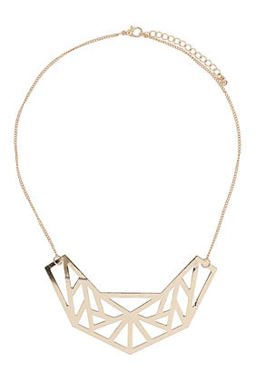 Short Geo Necklace - predominant colour: gold; occasions: evening, work, occasion, holiday; length: mid; size: large/oversized; material: chain/metal; finish: metallic; embellishment: chain/metal; style: bib/statement; season: s/s 2013