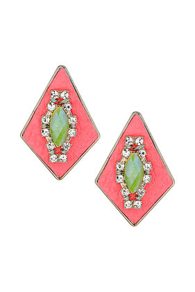 Leather And Rhinestone Earrings - predominant colour: coral; occasions: casual, evening, work, occasion, holiday; style: drop; length: mid; size: standard; material: chain/metal; fastening: pierced; trends: fluorescent; finish: fluorescent; embellishment: jewels/stone; season: s/s 2013