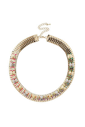 Neon Spike Collar - predominant colour: gold; occasions: evening, work, occasion, holiday; length: short; size: large/oversized; material: chain/metal; finish: metallic; embellishment: beading; style: bib/statement; season: s/s 2013