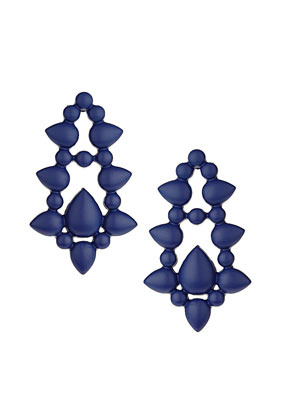 Matte Door Knocker Earrings - predominant colour: royal blue; occasions: casual, evening, work, occasion, holiday; style: drop; length: long; size: standard; material: chain/metal; fastening: pierced; trends: metallics; finish: fluorescent; embellishment: chain/metal; season: s/s 2013