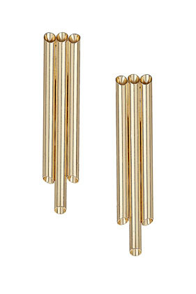 Three Tube Stud Earrings - predominant colour: gold; occasions: evening, work, occasion; style: drop; length: long; size: standard; material: chain/metal; fastening: pierced; trends: metallics, modern geometrics; finish: metallic; embellishment: chain/metal; season: s/s 2013