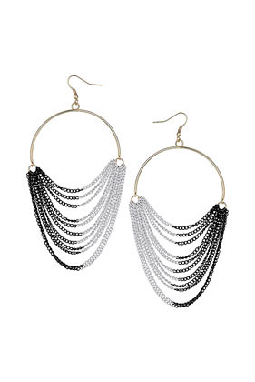 Chain Drape Hoop Earrings - predominant colour: silver; occasions: casual, evening, work, occasion, holiday; style: hoop; length: mid; size: large/oversized; material: chain/metal; fastening: pierced; trends: metallics; finish: metallic; embellishment: chain/metal; season: s/s 2013