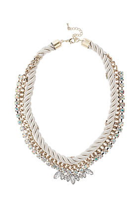 Rope And Rhinestone Collar - predominant colour: light grey; occasions: casual, evening, occasion; length: short; size: large/oversized; material: chain/metal; finish: metallic; embellishment: crystals/glass; style: bib/statement; season: s/s 2013