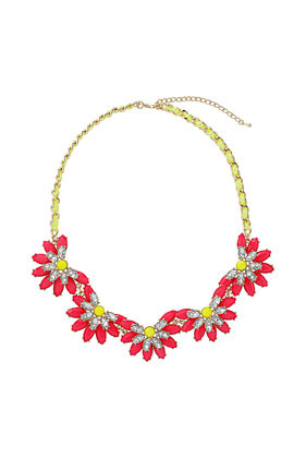 Neon Flower Collar - predominant colour: true red; occasions: casual, evening, work, occasion, holiday; length: short; size: large/oversized; material: chain/metal; finish: fluorescent; embellishment: jewels/stone; style: bib/statement; season: s/s 2013