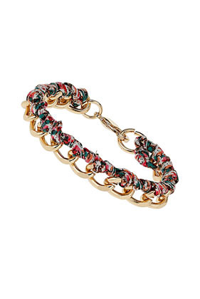 Floral Fabric Chain Bracelet - predominant colour: gold; occasions: casual, evening, work, holiday; style: chain; size: standard; material: chain/metal; trends: high impact florals, metallics; finish: plain; embellishment: chain/metal; season: s/s 2013