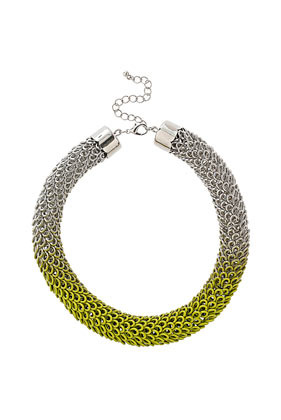 Ombre Metal Collar - predominant colour: silver; occasions: casual, evening, work, holiday; length: short; size: large/oversized; material: chain/metal; finish: fluorescent; embellishment: chain/metal; style: bib/statement; season: s/s 2013