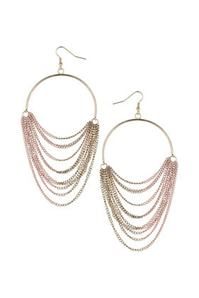 Half Coat Hoop Earrings - predominant colour: gold; occasions: evening, work, occasion, holiday; style: hoop; length: long; size: large/oversized; material: chain/metal; fastening: pierced; trends: metallics; finish: metallic; embellishment: chain/metal; season: s/s 2013