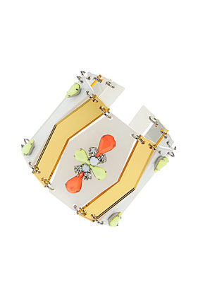 Neon Perspex Bracelet - predominant colour: white; occasions: casual, evening, work, occasion, holiday; style: cuff; size: large/oversized; material: plastic/rubber; trends: fluorescent, metallics; finish: fluorescent; embellishment: jewels/stone; season: s/s 2013