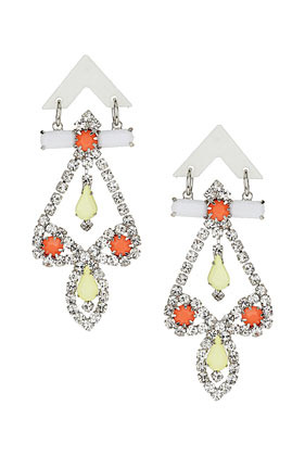 Neon Chandelier Earrings - occasions: evening, occasion; predominant colour: multicoloured; style: chandelier; length: long; size: large/oversized; material: chain/metal; fastening: pierced; finish: fluorescent; embellishment: crystals/glass; season: s/s 2013; multicoloured: multicoloured