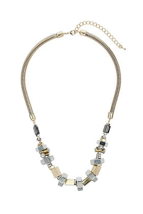 Bolt Stone Collar - predominant colour: stone; occasions: evening, work, occasion; length: mid; size: standard; material: chain/metal; finish: metallic; embellishment: chain/metal; style: bib/statement; season: s/s 2013
