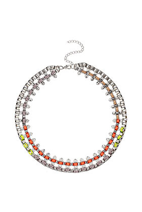 Cord Box Chain Collar - occasions: casual, evening, work, occasion, holiday; predominant colour: multicoloured; length: short; size: large/oversized; material: chain/metal; finish: fluorescent; embellishment: crystals/glass; style: bib/statement; season: s/s 2013; multicoloured: multicoloured