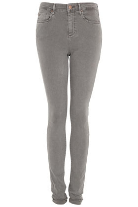 Tall Moto Grey Leigh Jeans - style: skinny leg; length: standard; pattern: plain; pocket detail: traditional 5 pocket; waist: mid/regular rise; predominant colour: light grey; occasions: casual; fibres: cotton - stretch; texture group: denim; pattern type: fabric; season: s/s 2013