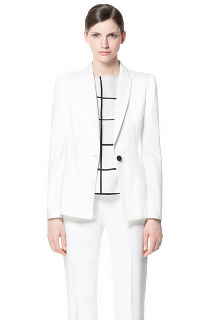 Blazer With Box Shoulder - pattern: plain; style: single breasted blazer; shoulder detail: shoulder pads; collar: standard lapel/rever collar; predominant colour: white; occasions: casual, evening, work, occasion, holiday; length: standard; fit: tailored/fitted; fibres: polyester/polyamide - mix; sleeve length: long sleeve; sleeve style: standard; texture group: cotton feel fabrics; collar break: low/open; pattern type: fabric; season: s/s 2013; wardrobe: basic