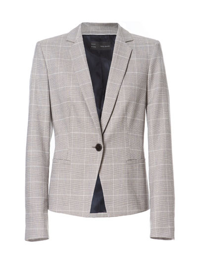 Checked Blazer - pattern: checked/gingham; style: single breasted blazer; collar: standard lapel/rever collar; predominant colour: light grey; occasions: casual, evening, work; length: standard; fit: tailored/fitted; fibres: polyester/polyamide - mix; waist detail: fitted waist; sleeve length: long sleeve; sleeve style: standard; collar break: medium; pattern type: fabric; pattern size: standard; texture group: woven light midweight; season: s/s 2013