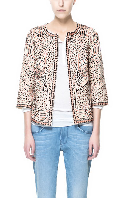 Two Tone Embroidered Blazer - collar: round collar/collarless; style: boxy; predominant colour: ivory/cream; occasions: casual, evening, work, occasion; length: standard; fit: straight cut (boxy); fibres: cotton - 100%; sleeve length: 3/4 length; sleeve style: standard; texture group: cotton feel fabrics; collar break: high; pattern type: fabric; pattern: patterned/print; embellishment: beading; season: s/s 2013; wardrobe: highlight; embellishment location: all over
