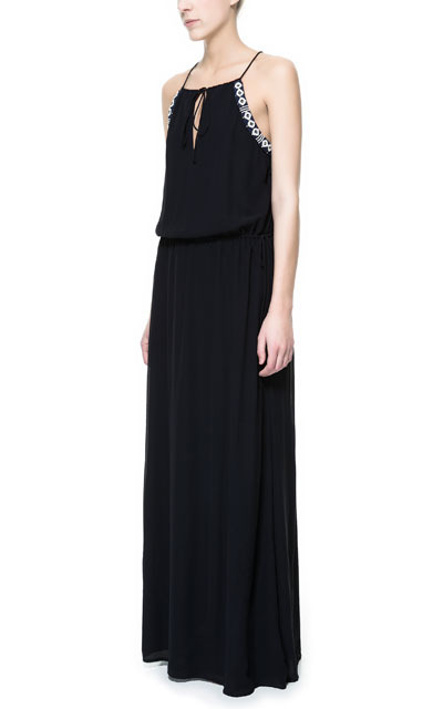 Strappy Long Dress With Beading - neckline: high square neck; sleeve style: sleeveless; style: maxi dress; waist detail: elasticated waist; back detail: racer back/sports back; predominant colour: black; occasions: evening, occasion; length: floor length; fit: body skimming; fibres: polyester/polyamide - 100%; hip detail: soft pleats at hip/draping at hip/flared at hip; sleeve length: sleeveless; trends: modern geometrics; pattern type: fabric; pattern size: light/subtle; texture group: jersey - stretchy/drapey; embellishment: beading; season: s/s 2013